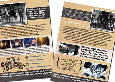 Condensed press pack for Bar Stool Preachers band