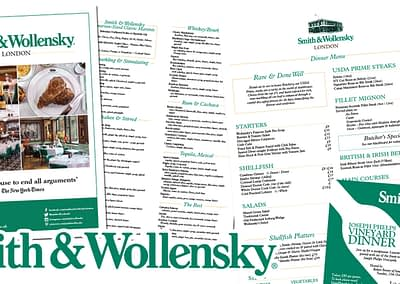 Smith and Wollensky Adverts and Menus